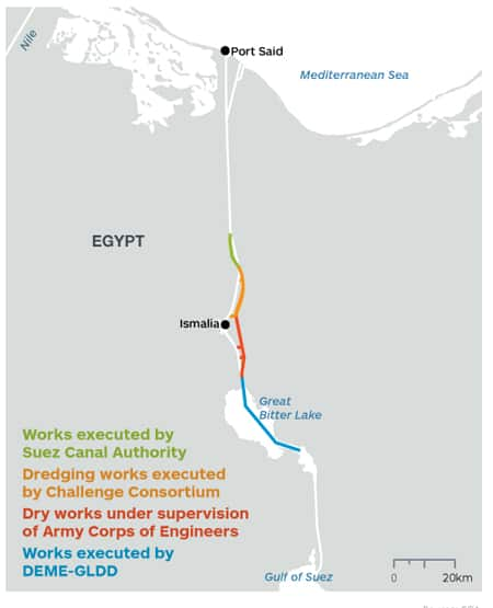 Map showing ongoing expansion work of the Suez Canal