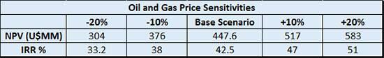 Sensitivity analysis on base case valuations