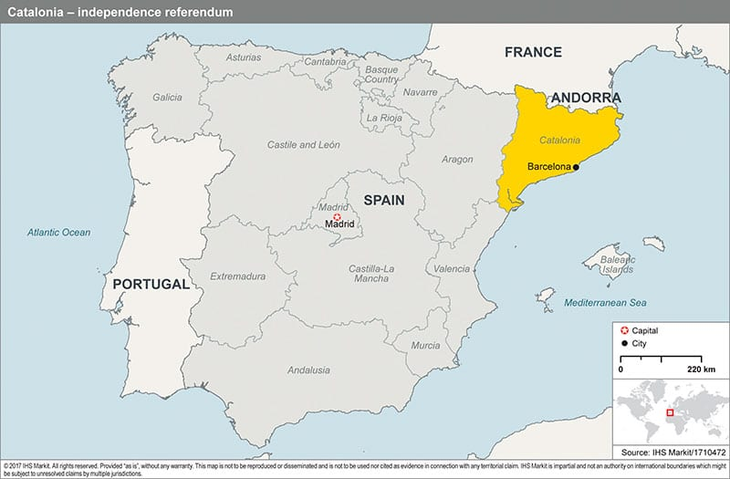 World Map Catalonia. The unconstitutional referendum triggered a political crisis  but IHS Markit does not currently assess that Catalonia will secede from Spain in the two year Catalan independence moves
