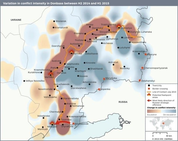 Variation in conflict intensity in Ukraine's Donbass region between H2 2014 and H1 2015