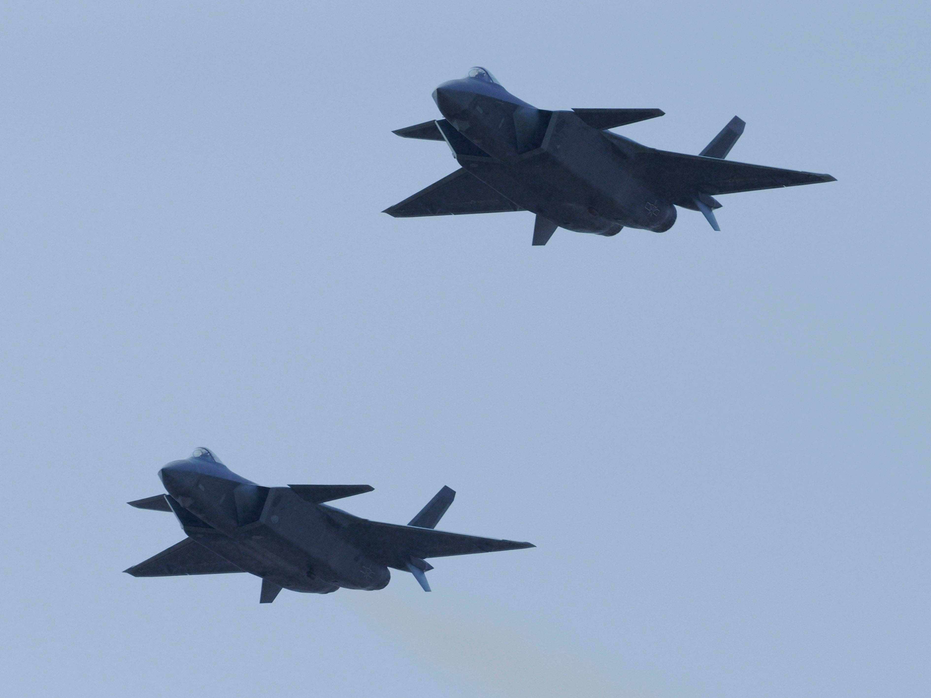 A pair of PLAAF J-20 stealth combat aircraft making a public debut at Airshow China 2016. Image credit: IHS Markit/Kelvin Wong