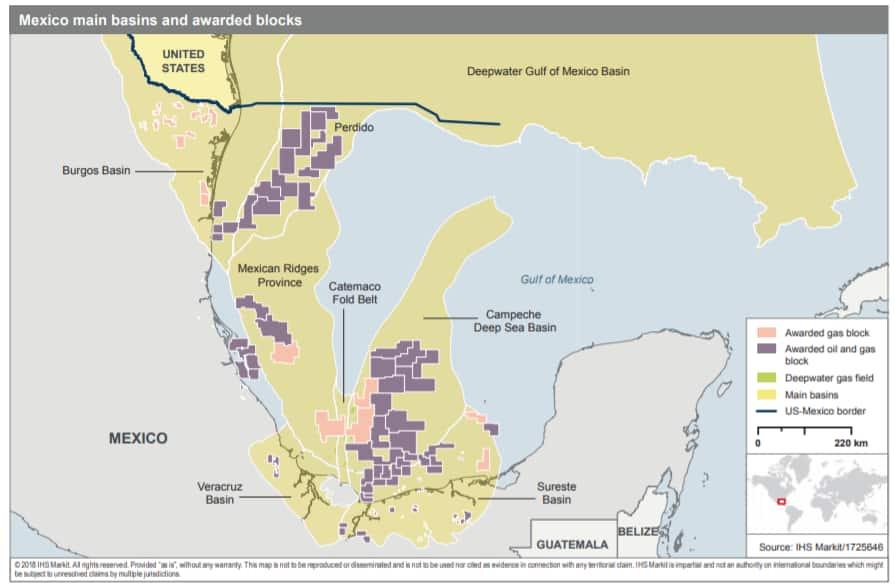 Mexico main basins and awarded blocks