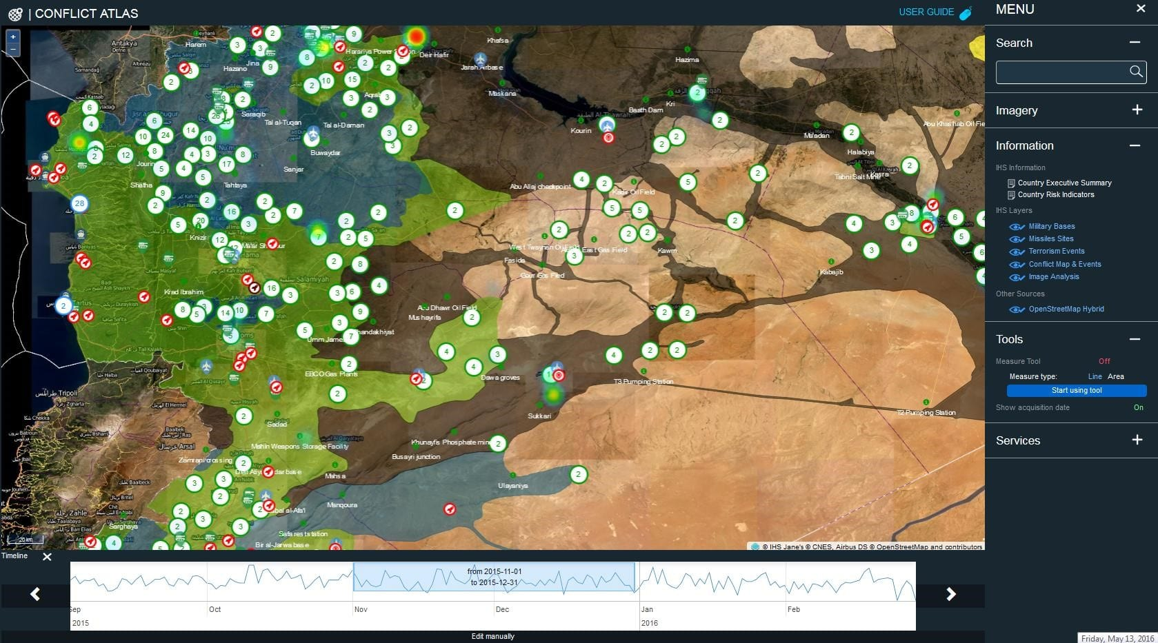 Conflict atlas ihs markit caption geotagging of military bases missile sites terrorism events conflict map and events gumiabroncs Gallery